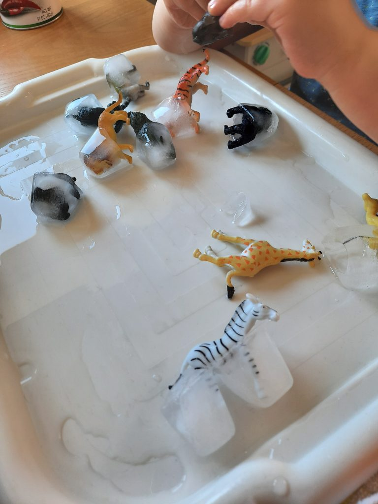 Small toy animals frozen in ice